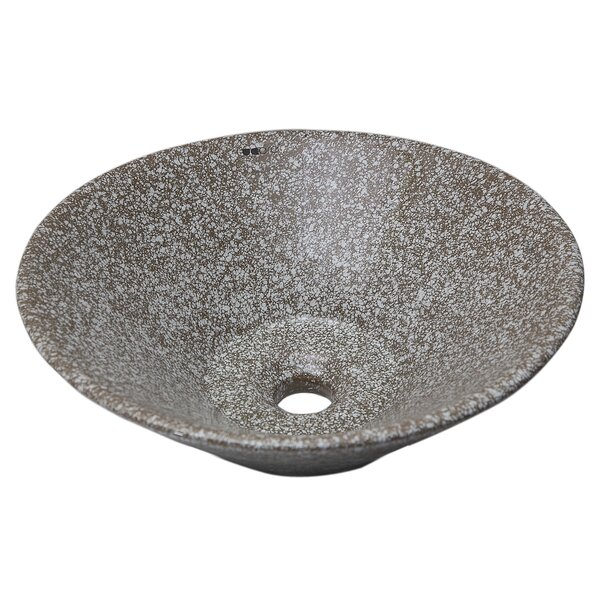 Round Ceramic Circular Vessel Bathroom Sink with Overflow by UCore