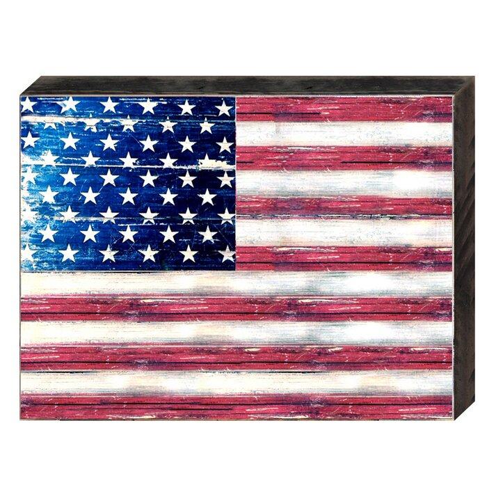 American Flag Wooden Block Wall Décor