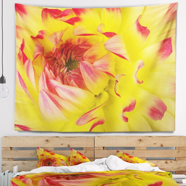 Floral Smooth Yellow Red Petals Close Up Tapestry and Wall Hanging by East Urban Home