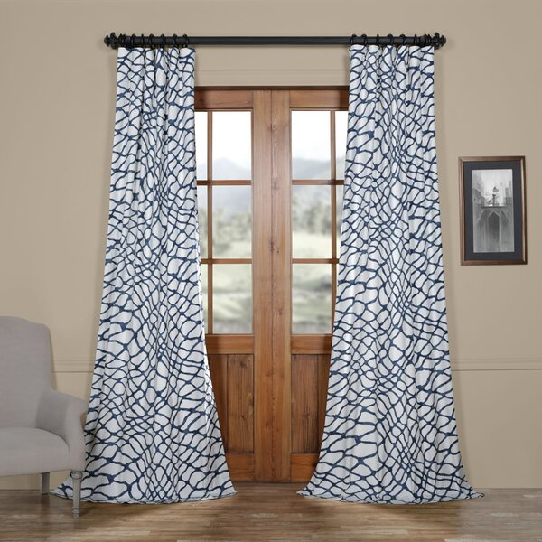 Leite Printed Cotton Twill Abstract Room Darkening Thermal Rod Pocket Single Curtain Panel by Latitude Run