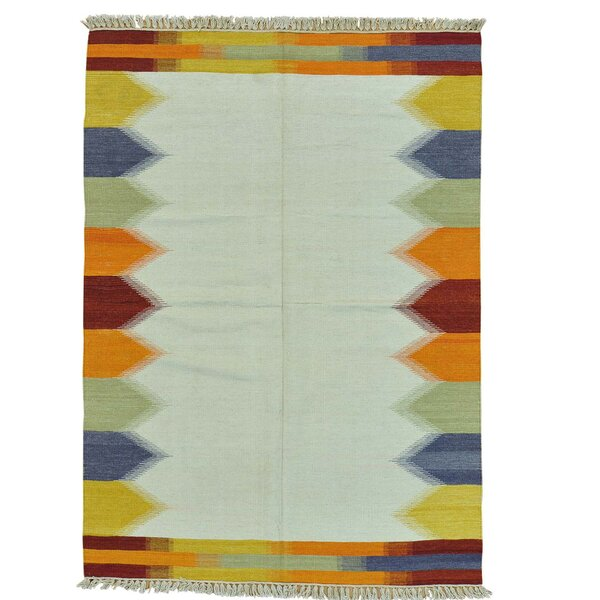 Flat Weave Anatolian Kilim Hand-Knotted Ivory Area Rug by Bloomsbury Market