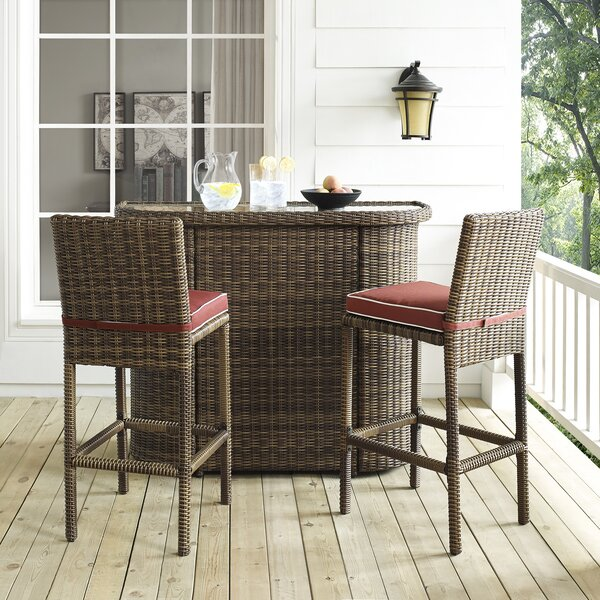 Dardel 3 Piece Bar Height Dining Set with Cushions by Beachcrest Home
