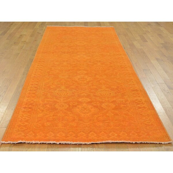 One-of-a-Kind Beaumont Overdyed Handwoven Orange Wool Area Rug by Isabelline