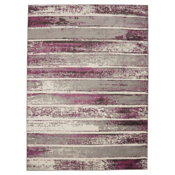 Harvey Stripe Ivory/Purple Area Rug by Orren Ellis