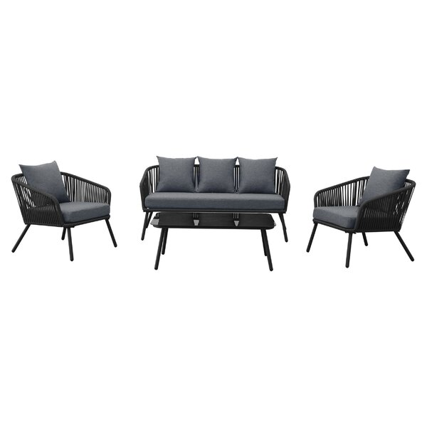 Creaser Braided Rope 4 Piece Rattan Sofa Seating Group with Sunbrella Cushions by Rosecliff Heights