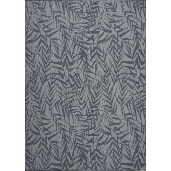 Roxy Leaves Slate Gray Indoor/Outdoor Area Rug by Bay Isle Home