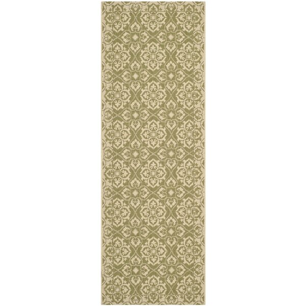 Lynn Green/Creme Outdoor Area Rug by Charlton Home
