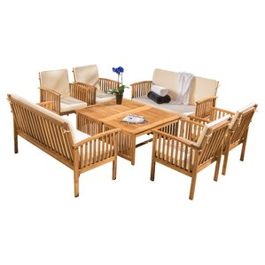 Wood Patio Furniture With Cushions wood patio furniture you'll love | wayfair