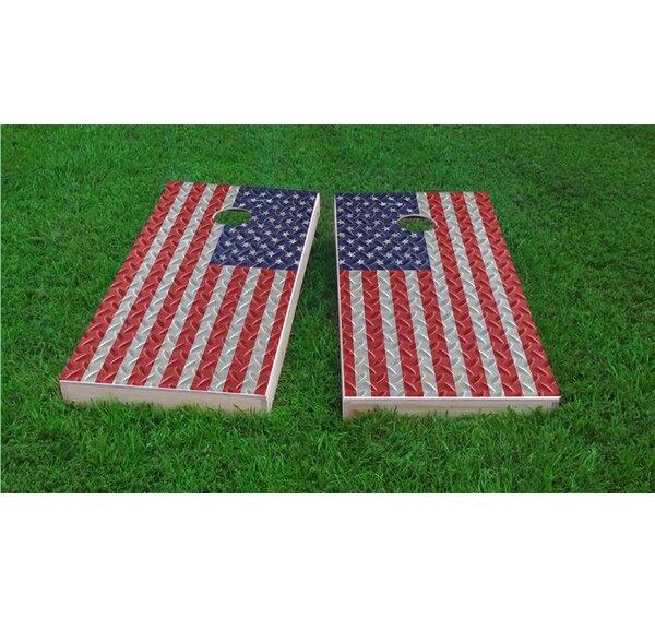 Diamond Plate American Flag Light Weight Cornhole Game Set by Custom Cornhole Boards