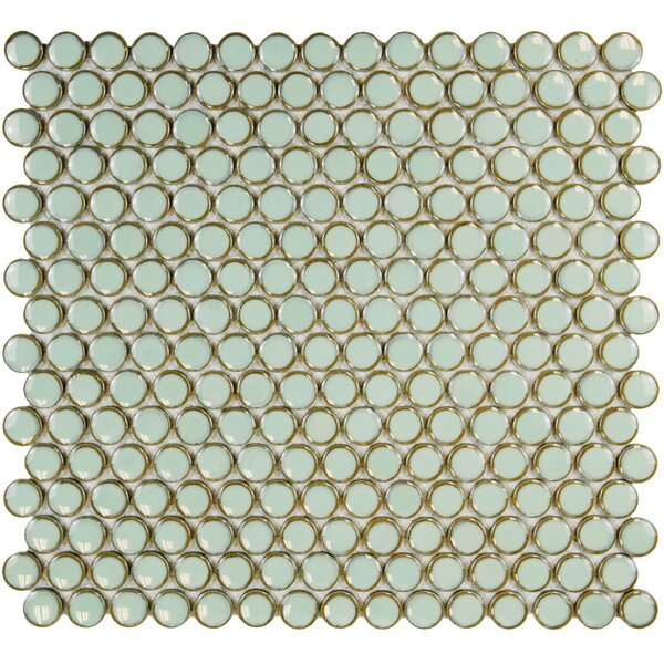 Penny 0.8 x 0.8 Porcelain Mosaic Tile in Moss Green by EliteTile