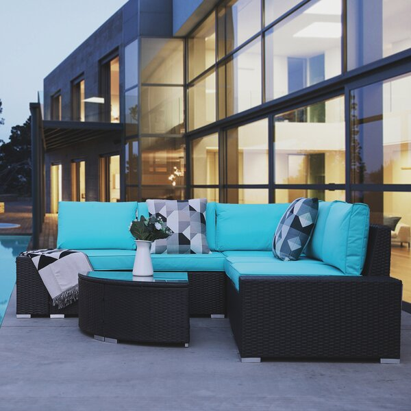 Winterport 6 Piece Rattan Sectional Seating Group with Cushions by Latitude Run