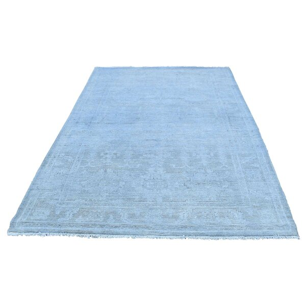 One-of-a-Kind Bagby Overdyed Mazlaghan Hand-Knotted Sku Blue Area Rug by Isabelline