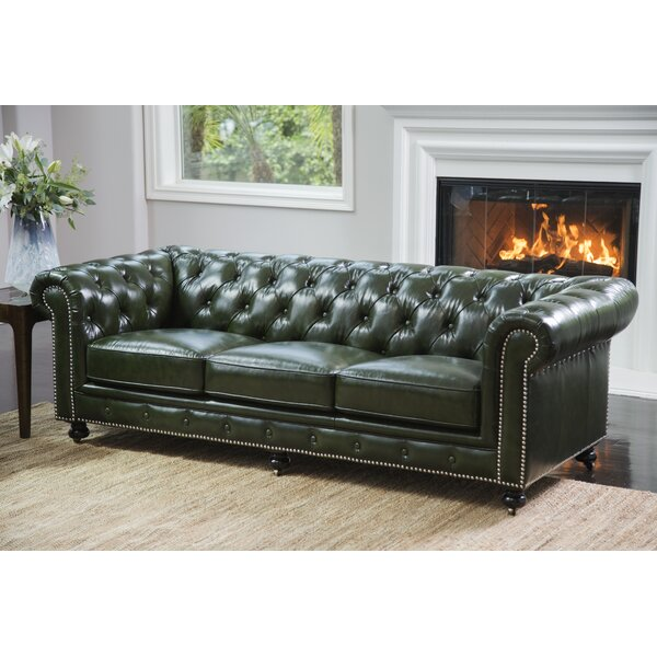 Modern Kilie Virginia Leather Chesterfield Sofa by 17 Stories by 17 Stories