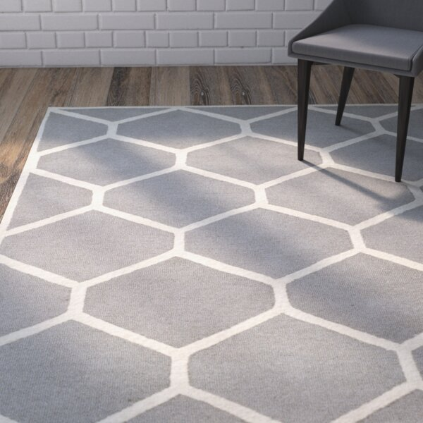 Martins Hand-Tufted Wool Silver/Ivory Area Rug by Wrought Studio