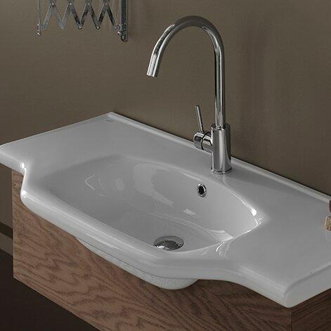 Yeni Klasik Ceramic Rectangular Drop-In Bathroom Sink with Overflow by CeraStyle by Nameeks