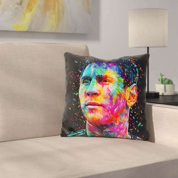 Messi Throw Pillow by East Urban Home