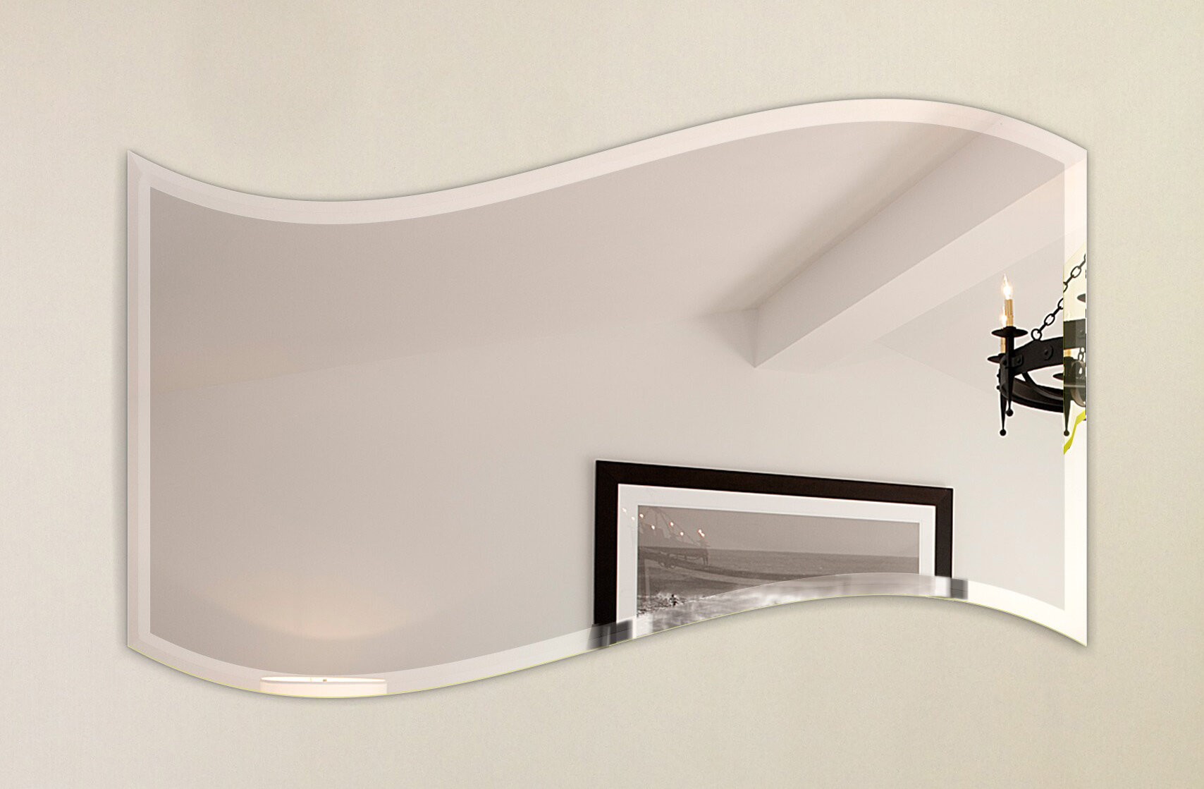 Fab Glass And Mirror Wavy Beveled Polish Frameless Wall Mirror With