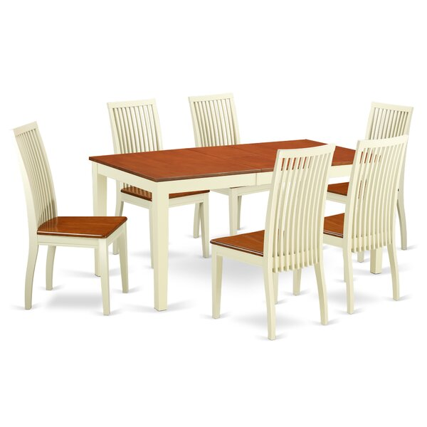 Pillar 7 Piece Solid Wood Dining Set by August Grove