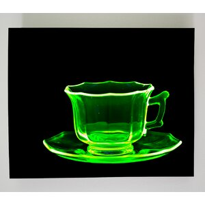 X-ray Designs Uranium Glass Teacup Graphic Art Plaque by Radiant Art Studios