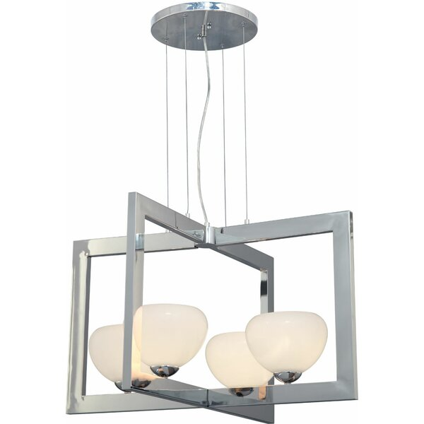 Kaneshiro 4 - Light Shaded Square / Rectangle Chandelier by Latitude Run Latitude Run