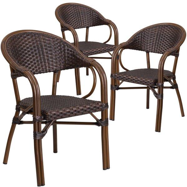 Shelie Rattan Restaurant Patio Arm Chair (Set of 3) by Bayou Breeze Bayou Breeze