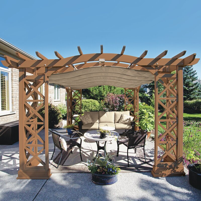 Yardistry Preston 12 Ft W X 12 Ft D Solid Wood Pergola