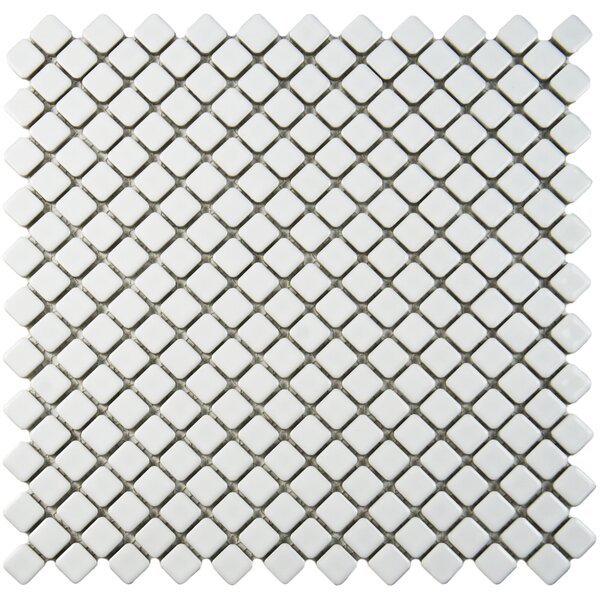 Gem 0.71 x 0.71 Porcelain Mosaic Tile in Glossy White by EliteTile