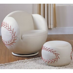 All Star Baseball Kids Club Chair And Ottoman