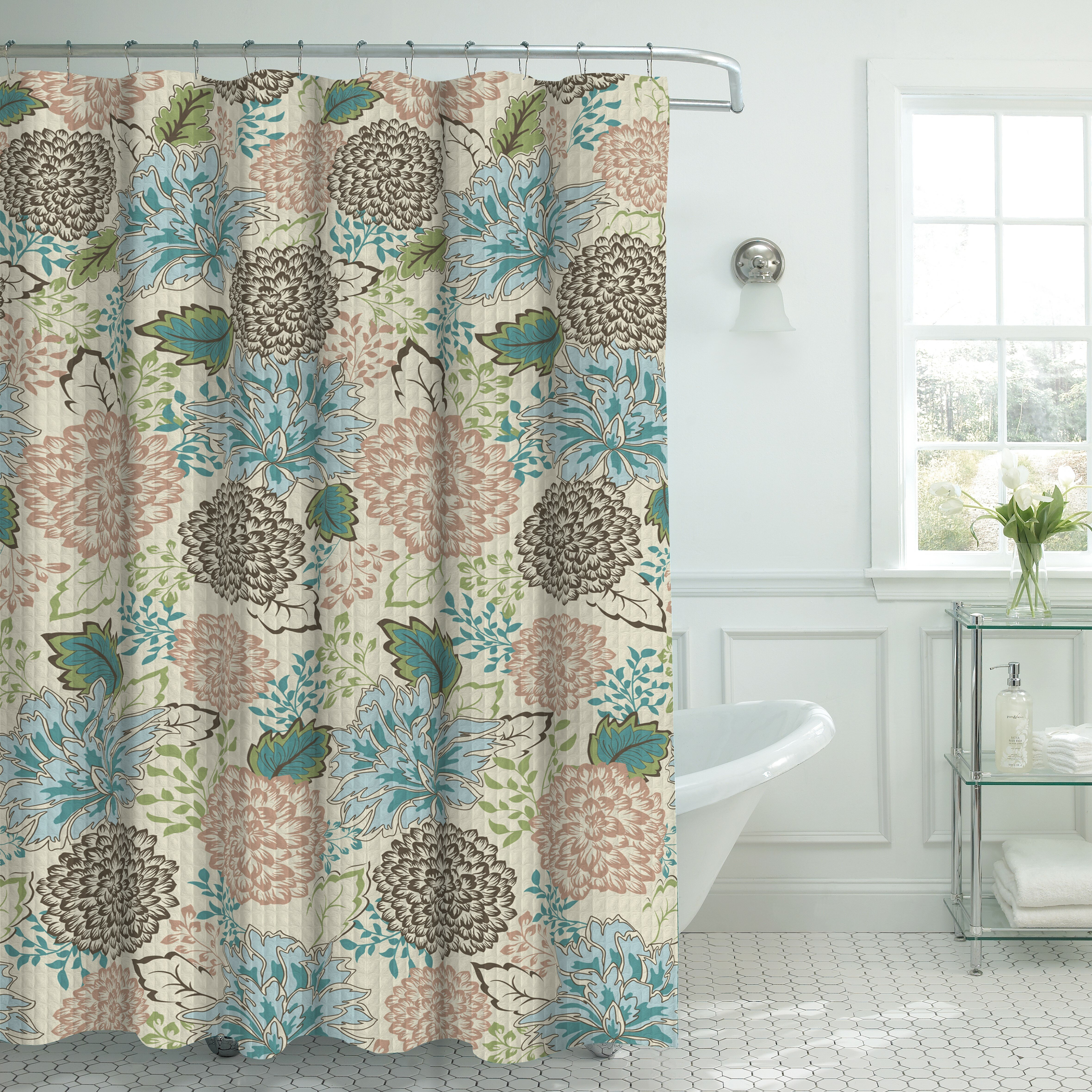Maxman Fabric Weave Textured Floral Shower Curtain Set