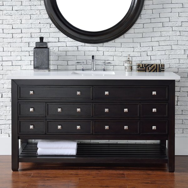 Kramer Traditional 60 Single Cerused Espresso Oak Stone Top Bathroom Vanity Set by Darby Home Co