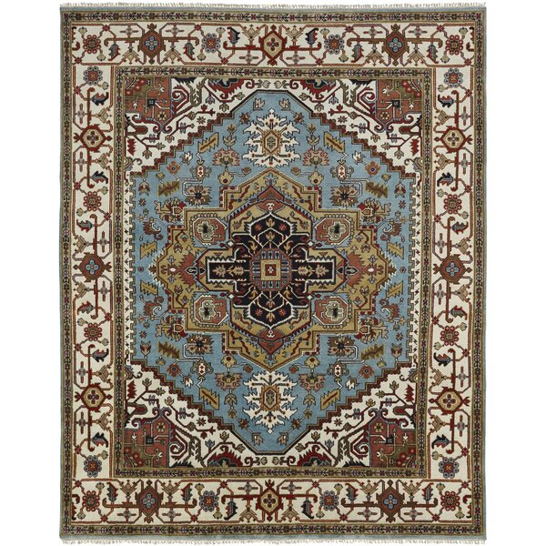 Martens Hand Knotted Wool Blue/Ivory Area Rug by Astoria Grand