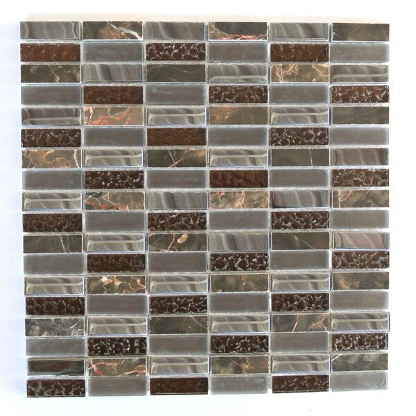 Quartz 0.63 x 2 Glass and Stone Mosaic Tile in Chestnut by Abolos