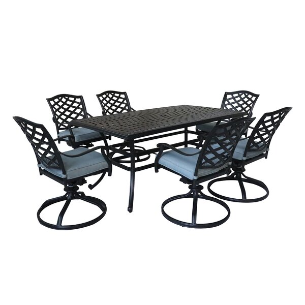 Wadena 7 Piece Dining Set with Cushions by Fleur De Lis Living