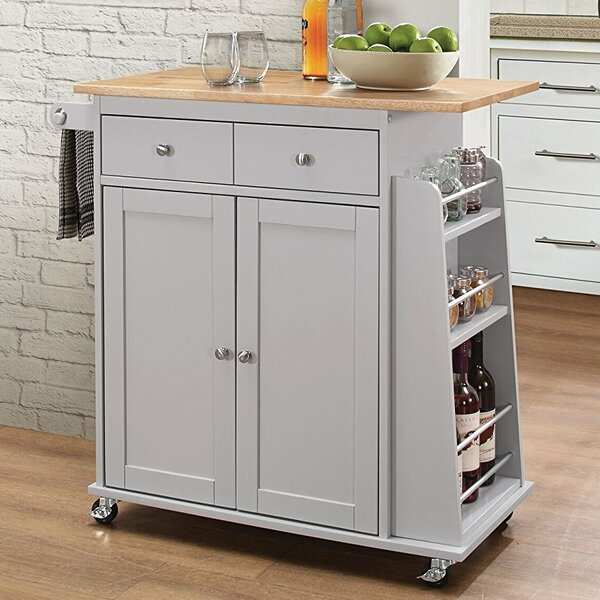 Kulick Wheeled Kitchen Cart by Alcott Hill
