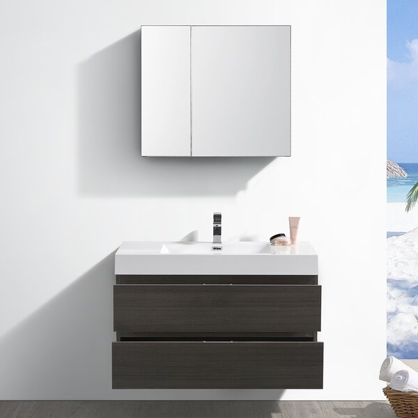 Senza Valencia 42 Wall Mounted Single Bathroom Vanity Set by Fresca