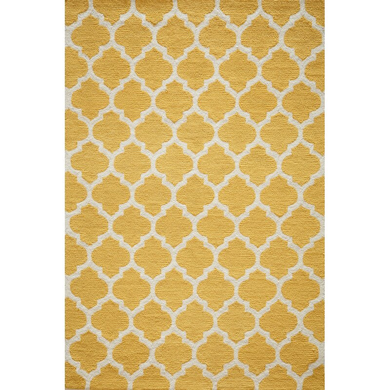 Frank Hand Hooked Yellow Area Rug