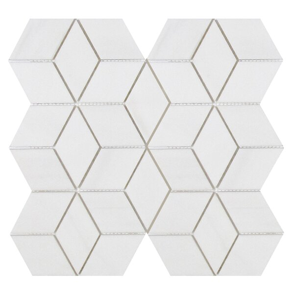 Soft Touch Rhombus 2 x 2 Marble Mosaic Tile in White by Seven Seas