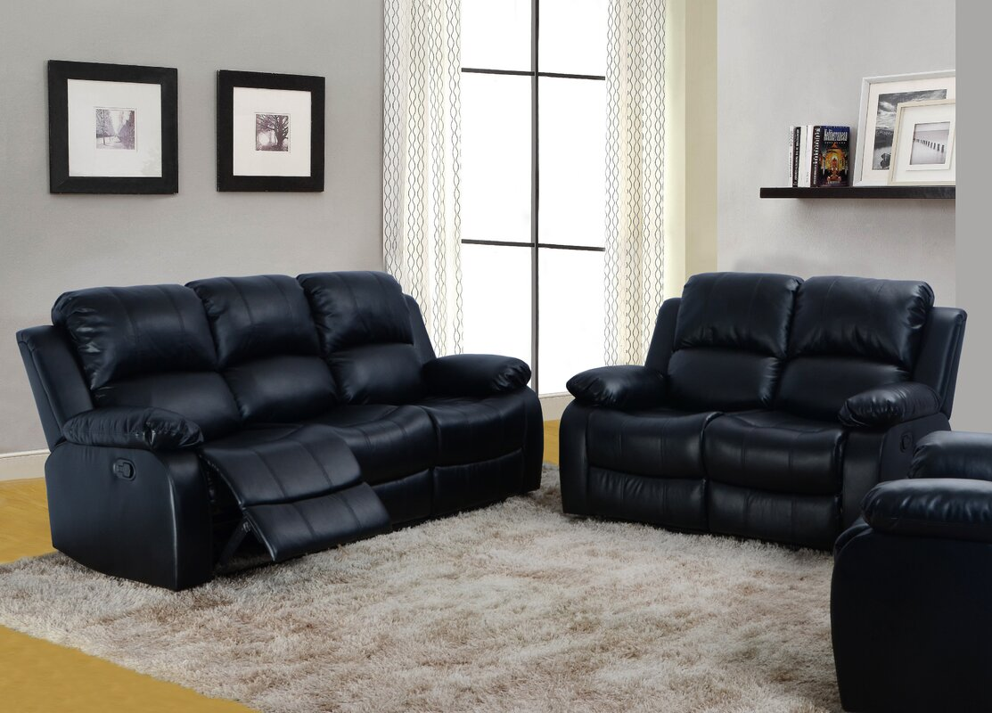 red barrel studio maumee 2 piece bonded leather reclining living