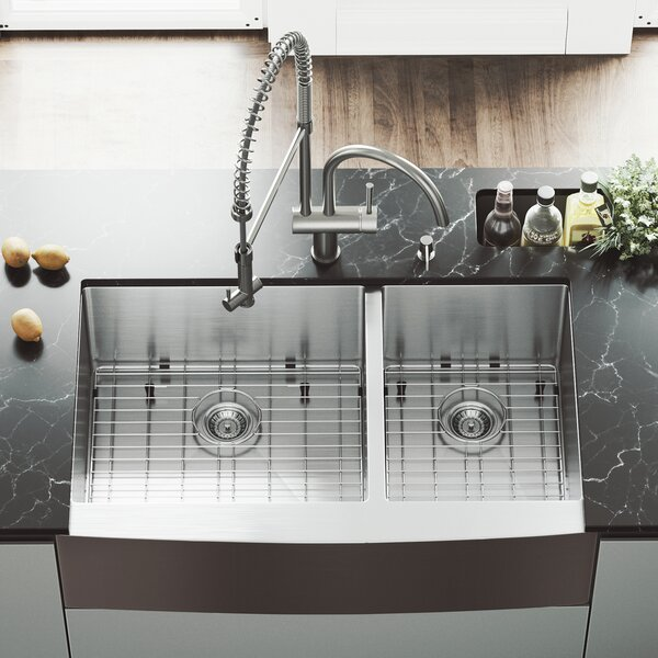 All in One 36 L x 22 W Double Basin Farmhouse Apron Kitchen Sink with Faucet, Two Grids, Two Strainers and Soap Dispenser by VIGO