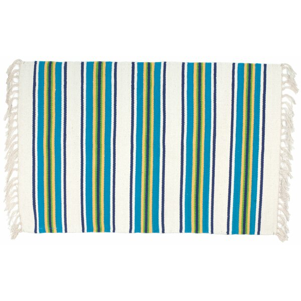 Hutchinson Blue White/Yellow Area Rug by Rosecliff Heights