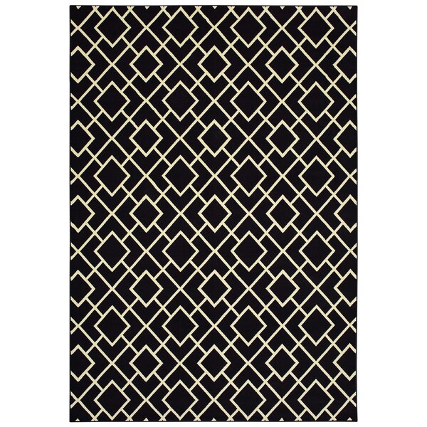 Hedden Lattice Black/Beige Area Rug by Bloomsbury Market