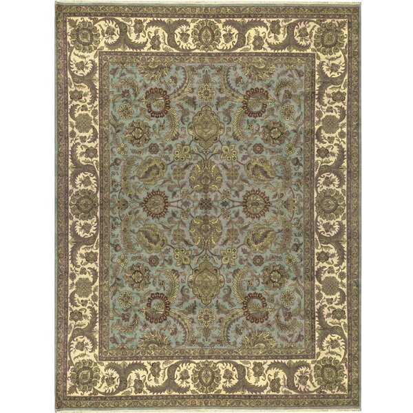 One-of-a-Kind Crown Select Handwoven 12' x 15'2 Wool Green/Beige Area Rug