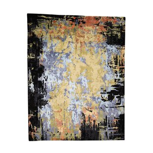 Best Reviews One-of-a-Kind Hillpoint Modern Abstract Hand-Knotted 9'1 x 12' Wool Black/Blue/Yellow Area Rug By Isabelline
