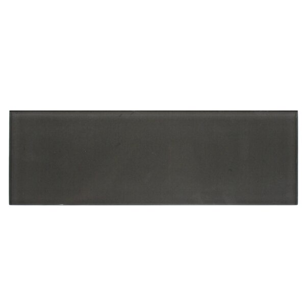 Premium Series 4 x 12 Glass Subway Tile in Glossy Midnight Gray by WS Tiles