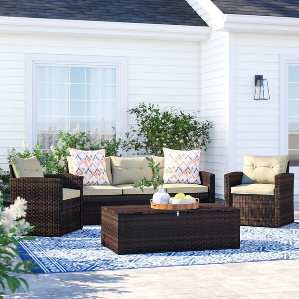 Marvelous 5 Piece Wicker Patio Set Wayfair Lamtechconsult Wood Chair Design Ideas Lamtechconsultcom