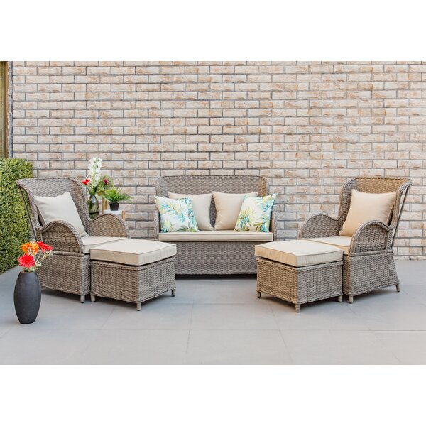 Mcneill 5 Piece Rattan Sectional Seating Group with Cushions