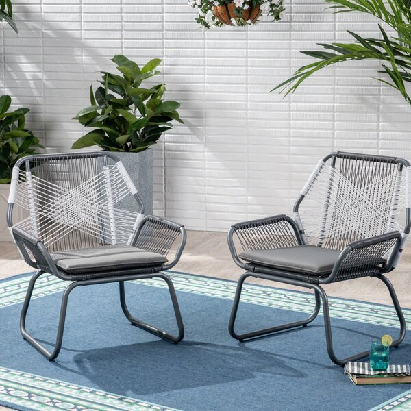 Spivey Patio Chair with Cushion (Set of 2) by Bungalow Rose