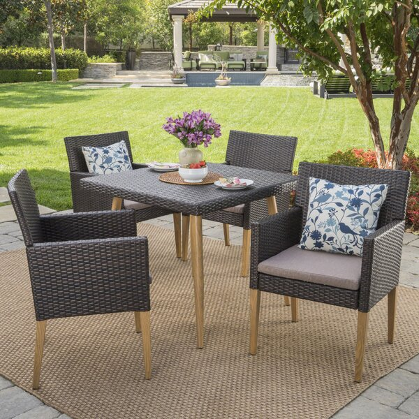 Opalstone 5 Piece Dining Set with Cushions by Ivy Bronx