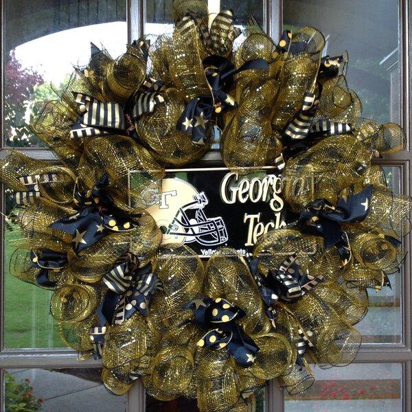 Ga Tech Jackets Collegiate 26 Wreath by Flora Decor