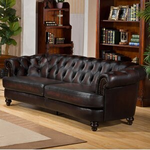 Roosevelt Leather Chesterfield Sofa by Amax